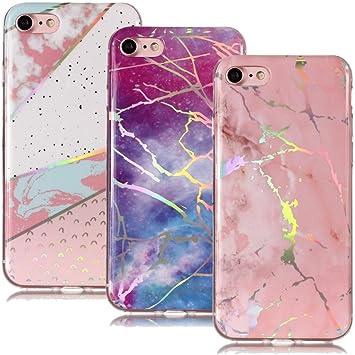 BestCatgift Funda iPhone 8/7 Mármol Funda [3 Pack] con Color de ...