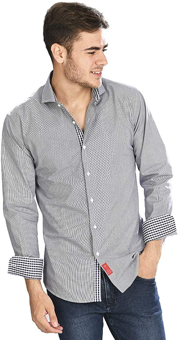 Camisa Manga Larga de Vestir, Slim fit, con Cuadros Rejilla en Color Negro para Hombre - 6_2XL, Negro: Amazon.es: Ropa y accesorios