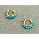 8a3ab97c4 Turquoise hoop earring,Personalized Womens Jewelry, Gold and Turquoise  earrings, Small hoop earring
