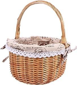 QNZ Picnic Basket,Hamper Handmade Woven Willow BBQ Food Storage Container Gift Basket Wedding Basket,Hand Woven Basket