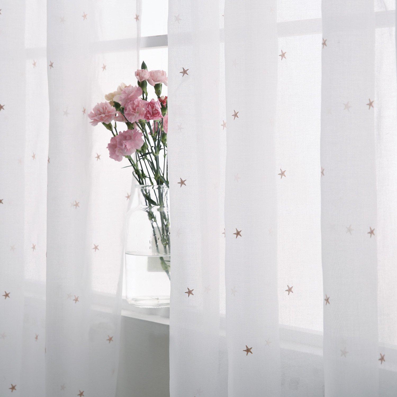 Amazon.de: Deconovo Voile Vorhang mit Ösen Dekosachl Transparent ...