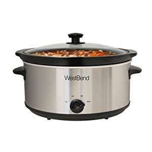 West Bend 87156 Oval Manual Slow Cooker with Ceramic Cooking Vessel and Glass Lid, 6-Quart One Size Fits All Stainless Steel