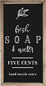 Fresh Soap and Water Framed Rustic Wood Farmhouse Wall Sign 9x18