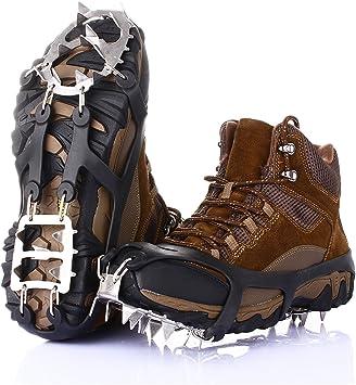 Ice Snow Grips Tracción tacos con 18 pinchos para caminar ...