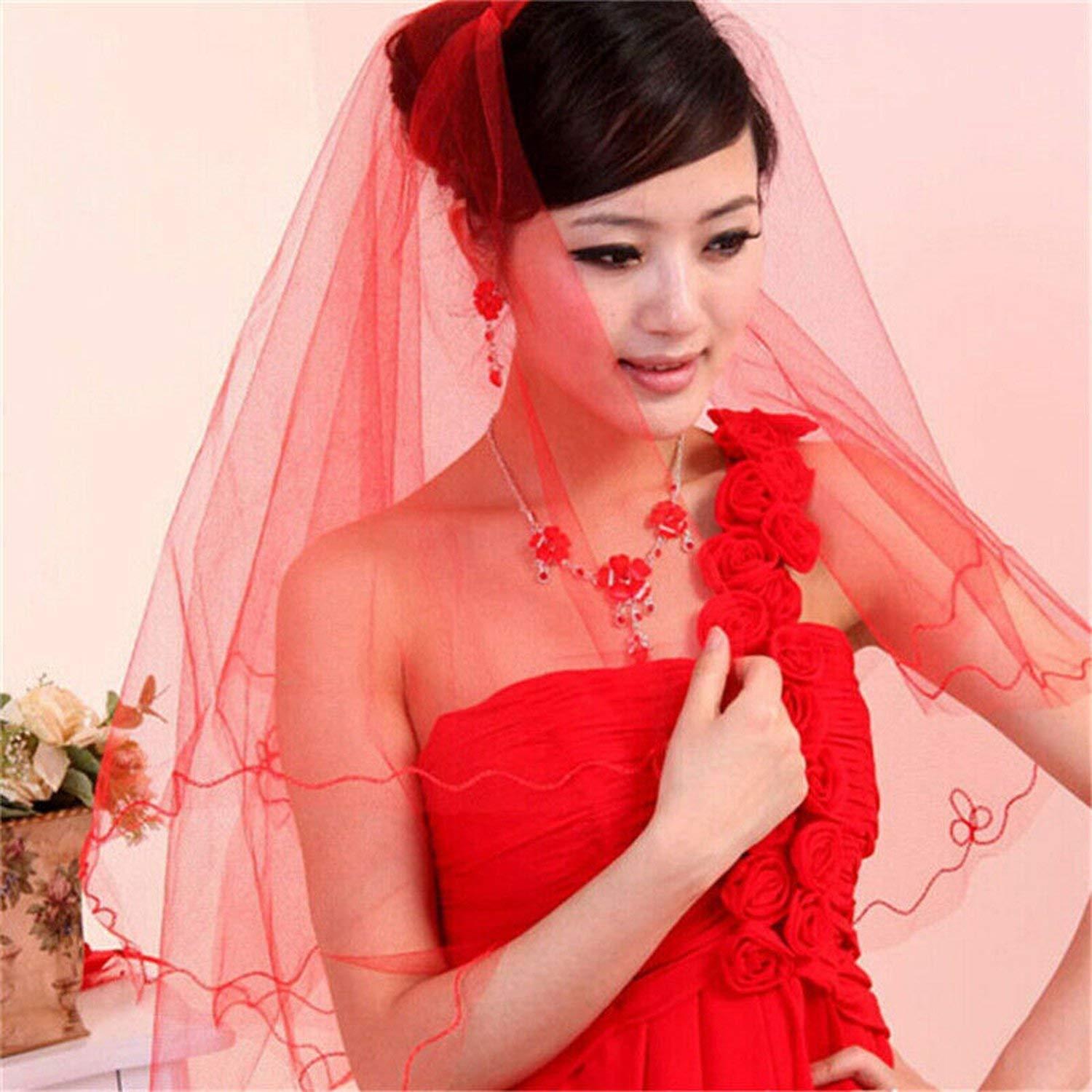 2019 White//Ivory 1 Layer Satin Edge Wedding Veil Bridal Veils With Comb,WHITE,150cm