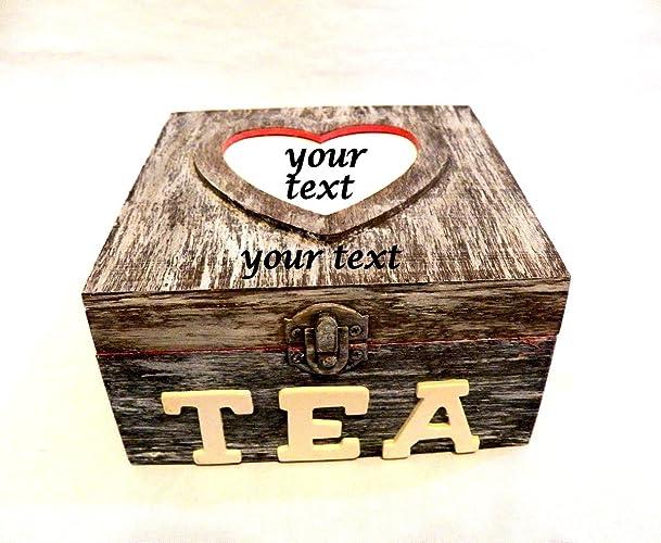 Caja de té personalizada, caja té Navidad, caja de regalo, caja té rústica