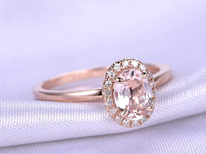 748c9fe489ffe Amazon.com: Solid 14k Rose Gold 5x7mm Oval Cut Natural Pink ...