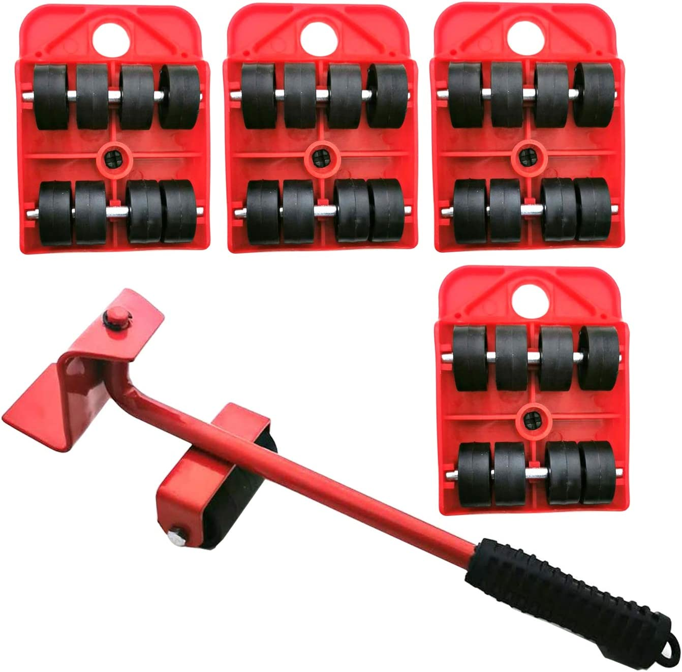 Markeny 5 Pack Mover Tool Set Furniture Lifter Durable Heavy Appliance Furniture Lifting 360 Degree Rotatable Pads, 1 Lifting Rod and 4 Furniture Moving Rollers(Red)