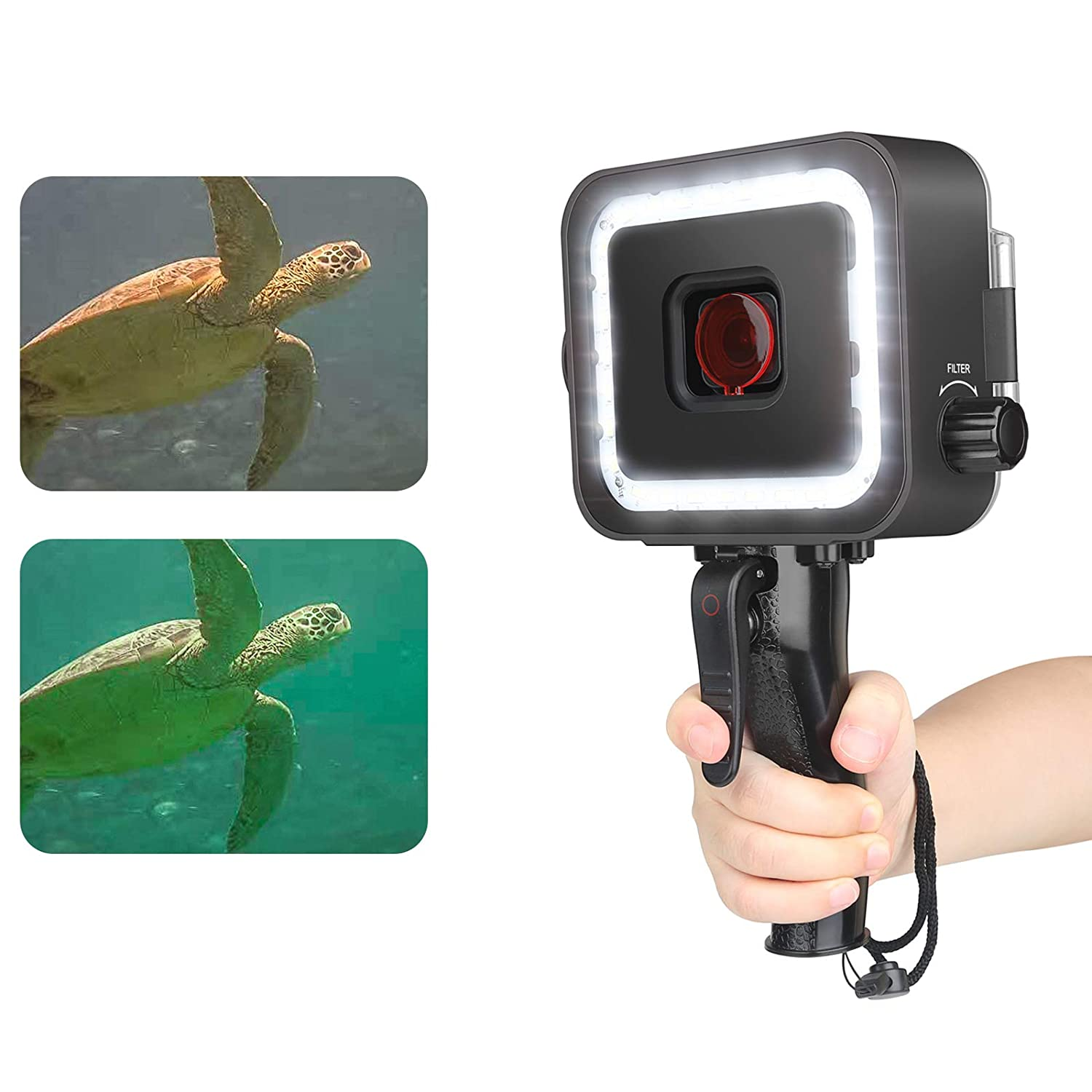 D/&F Scuba Diving Underwater Light 30M Waterproof Case LED Rechargeable Flashlight Camera Accessories with Red Filter and Shutter Trigger for GOPRO Hero 7 BLACK//6//5//HERO 2018