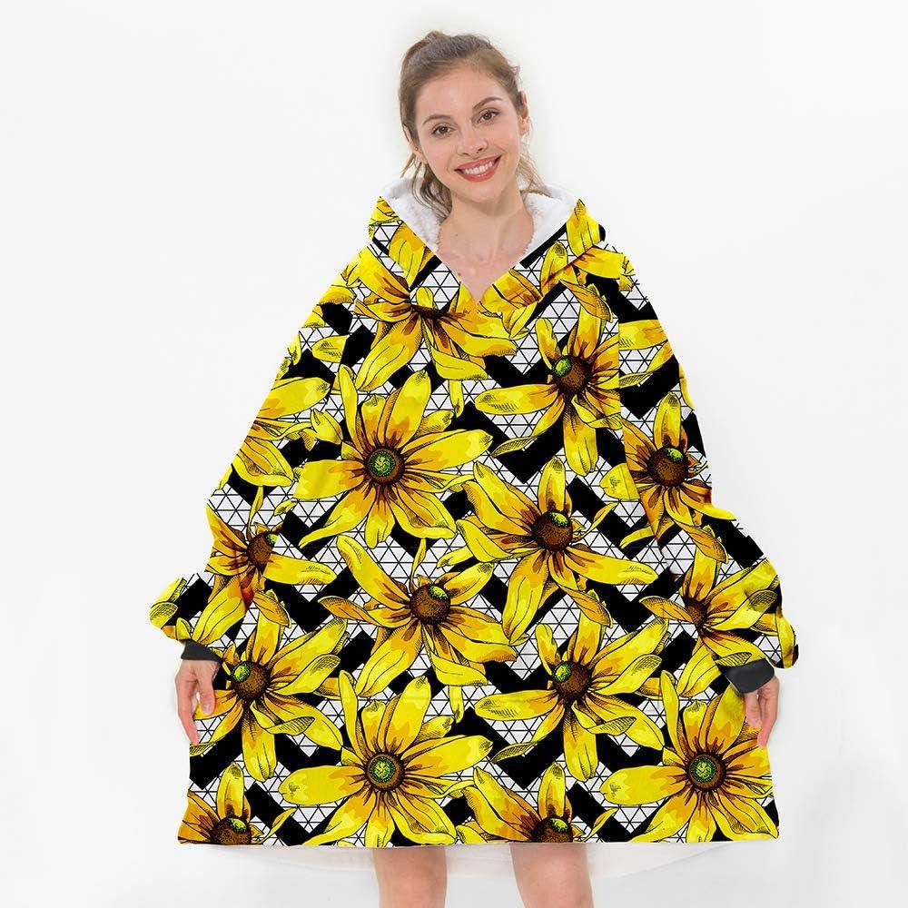 Sunflowers Hooded Blanket Kids Wearable Blanket Flowers Hooded Throw Yellow Blanket With Hoods Fleece Blankets,Adult Sherpa Hoodie