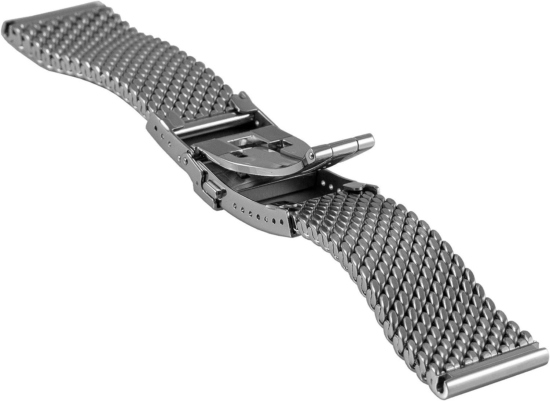 Staib Bracelet de Montre Milanaise/Mesh Boucle Pliable et Anse de Sécurité Largeur 24mm Longueur : 4,9 mm Acier