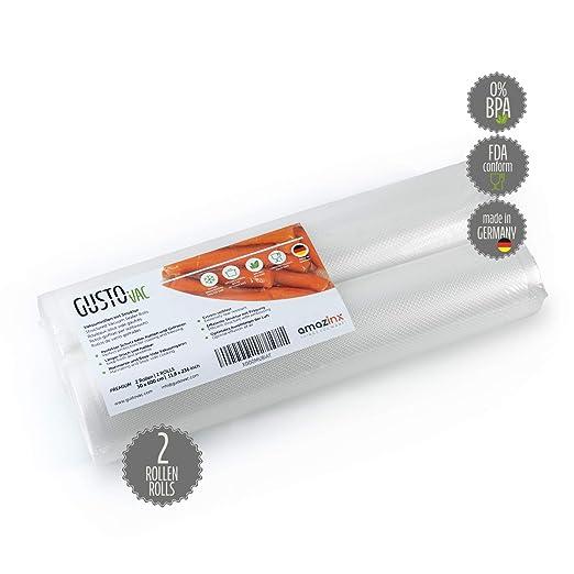 GustoVac Bolsa a vacio PREMIUM - Fabricado en Alemania - 2 u. 30 x 600cm - Para cualquier envasadora al vacío - Con relieves - Adecuada para cocina ...