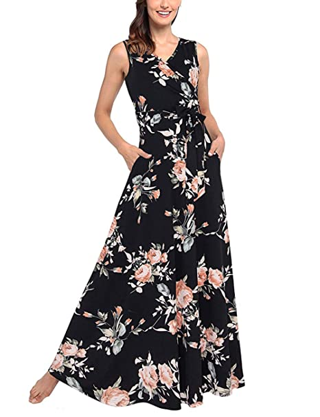 ef357ea1ef823 Lover-Beauty Women Maxi Dresses V Neck Sleeveless Dress with Pockets Floral  Printed Long Belt Dress
