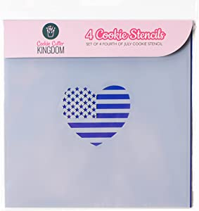 Fourth of July Cookie Stencil for Food Decorating. 4 Piece Cookie Cutter Kingdom Stencil for Royal Icing or Food Spray. 5.5 x 5.5 Inch Size. Fourth of July Stencil.