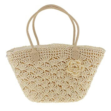 Buy Generic Trendy Magazine Style Woven Gold Line Shell Bag Crochet Knitted  Straw Bags - white Online at Low Prices in India - Amazon.in 4207dde520c0f