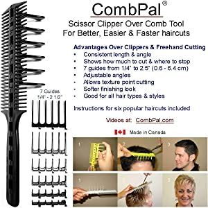 CombPal Scissor Clipper Over Comb Hair Cutting Tool Barber Haircutting Comb Set (Gray)