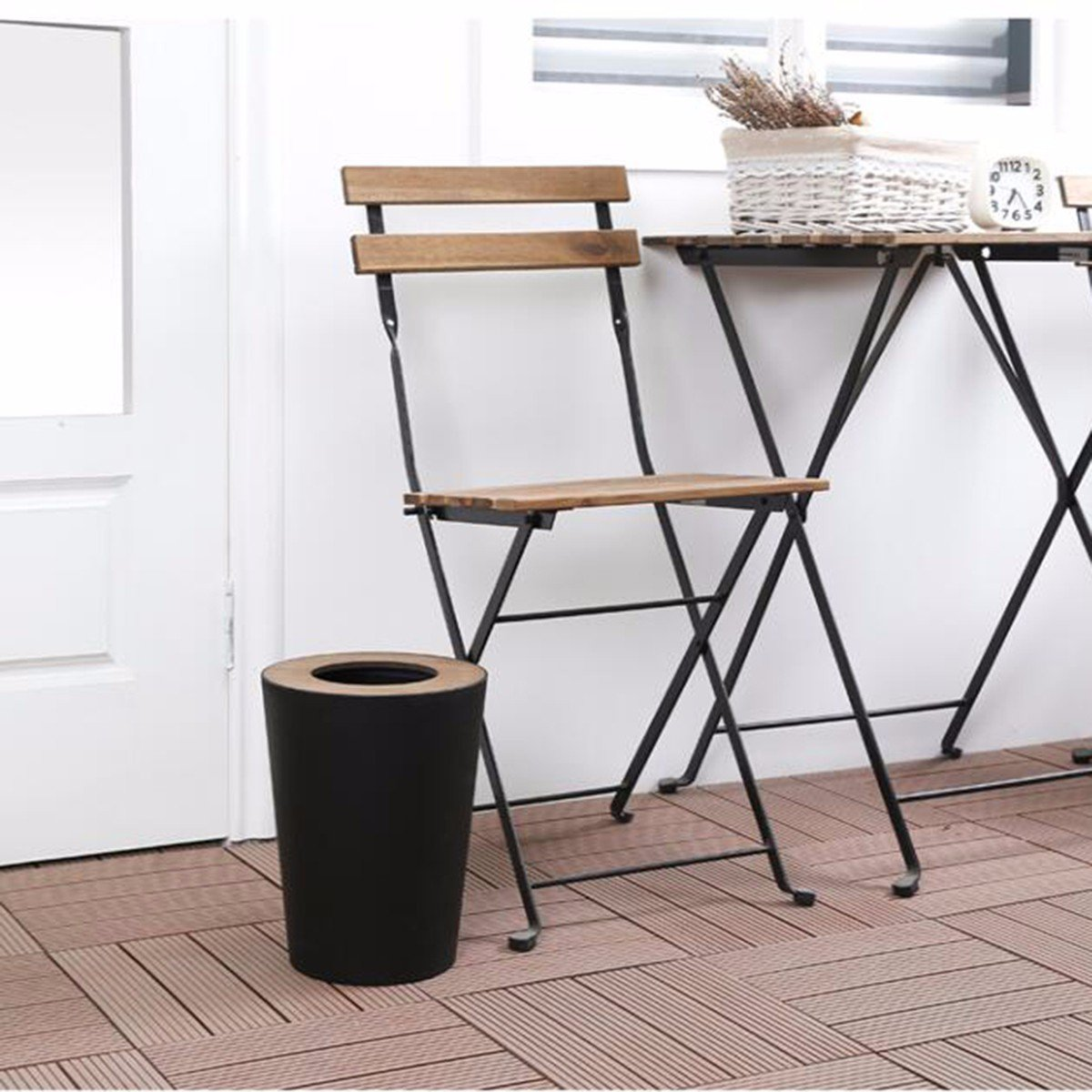 TDLC Creative North European household with cover wood covered the living room Bathroom kitchen with minimalist cover Waste Basket basket, B by TDLC (Image #3)