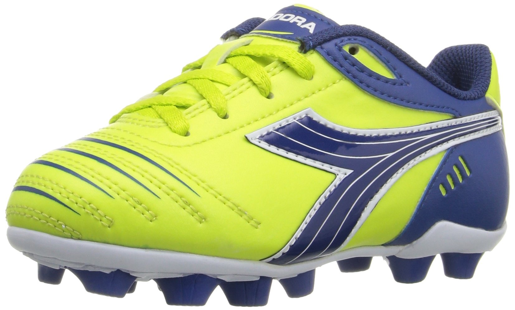 Diadora Kids' Cattura MD Jr Soccer Shoe, Lime Green/Dark Royal, 13 M US Little Kid