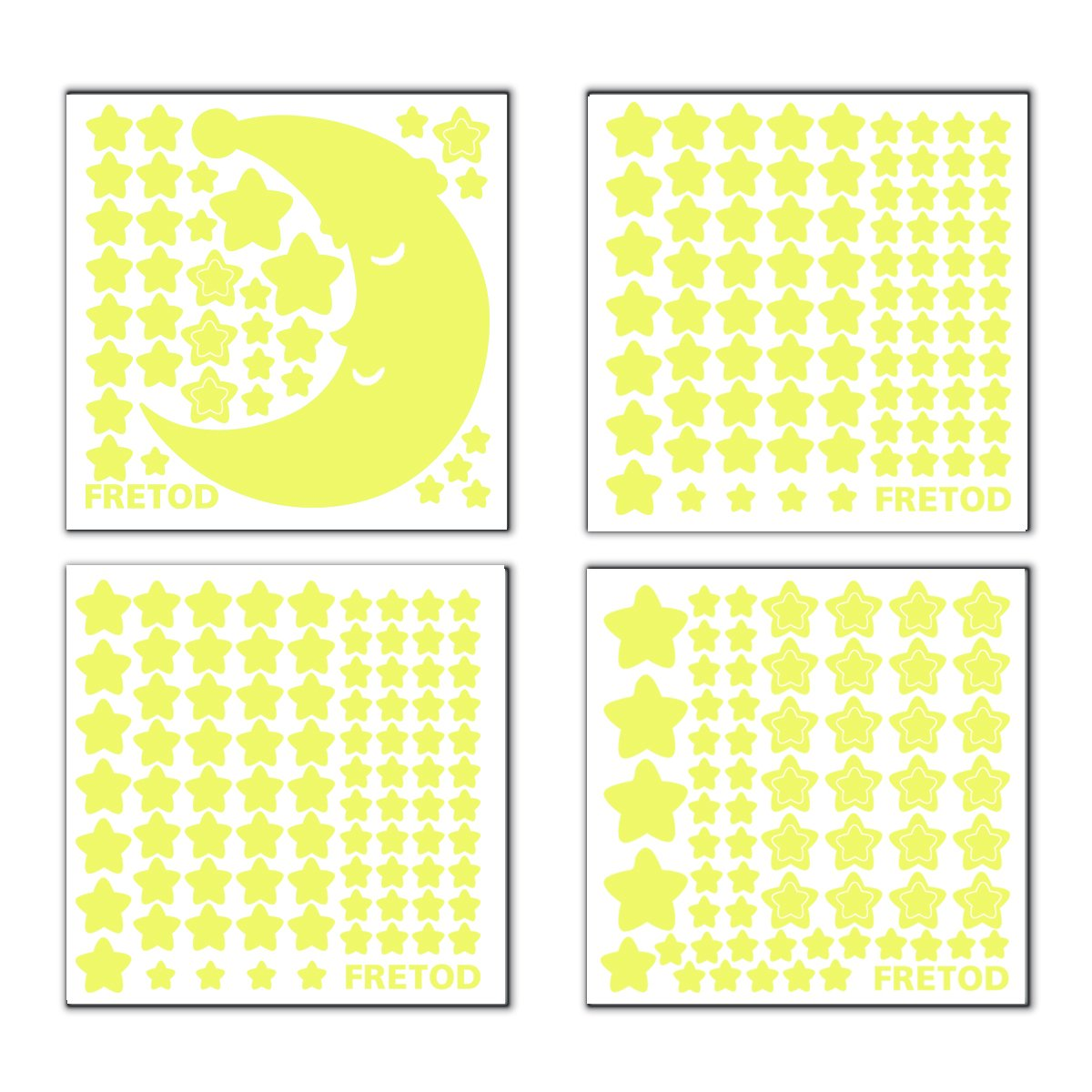 Glow in The Dark Moon and Stars - 300PCS - 9.4'' Large Moon and Various Size Fluorescent Stars for Ceiling Decoration in Kids Room by FRETOD (Image #4)