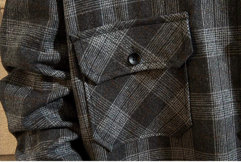 AngelSpace Men Classic Plaid Plus-Size Long-Sleeve Simple Pocket Shirt Blouse Top