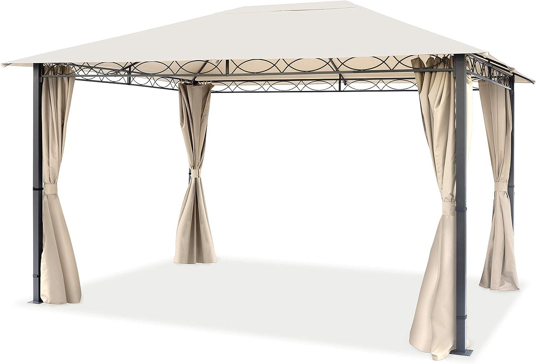 TOOLPORT Cenador de jardín 3x4 m cenador Impermeable pabellón con 4 Partes Laterales 280g/m² Lona de Techo en Carpa de Fiesta Beige: Amazon.es: Jardín