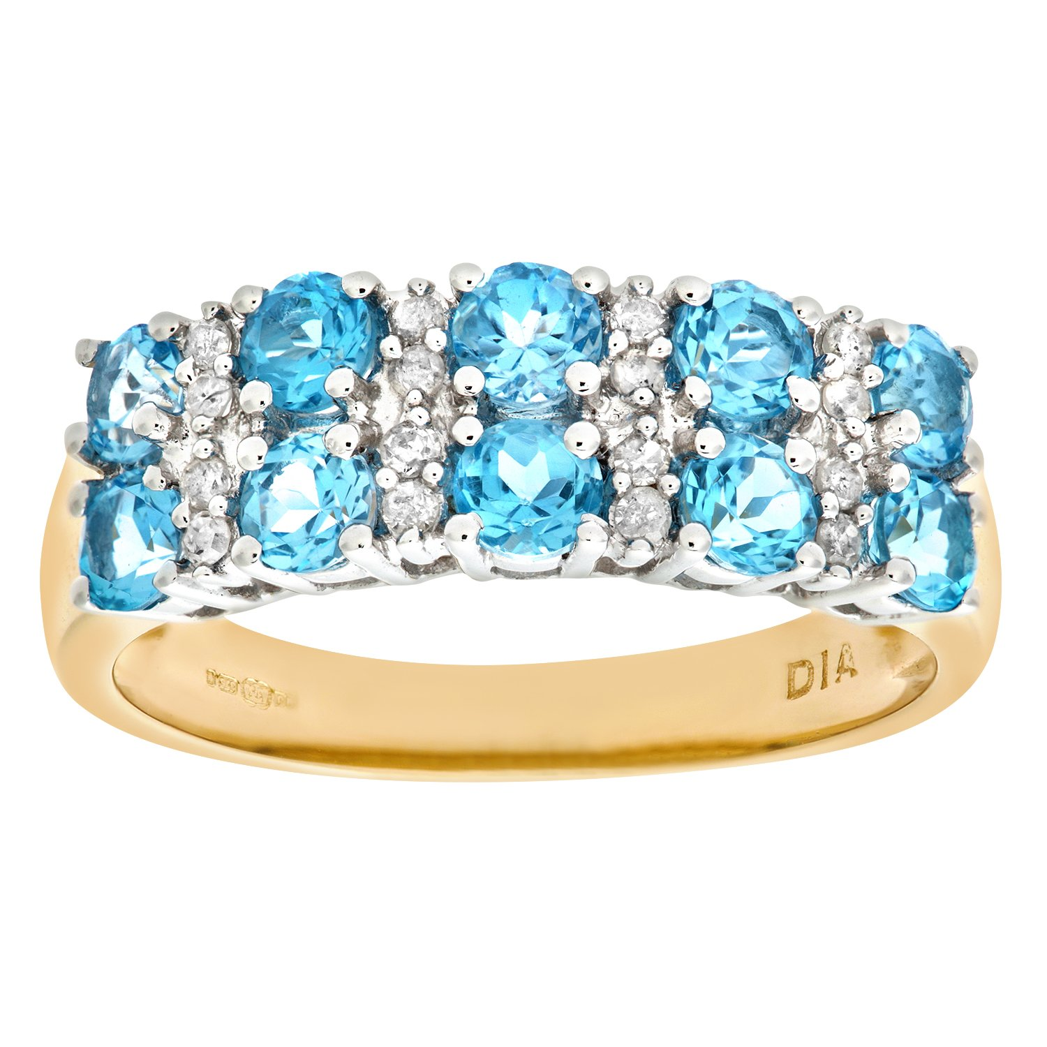 Naava 9ct Yellow Gold La s Diamond and Blue Topaz Ring Amazon