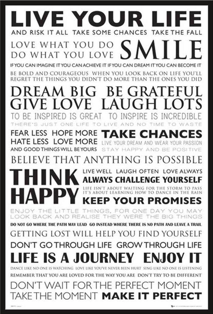 Motivational - Live Your Life Zitate Sprüche Motivationsposter ...