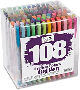 Lineon 108 Colors Gel Pens Set, Gel Pen for Adult Coloring Books Journals Drawing Doodling Art Markers