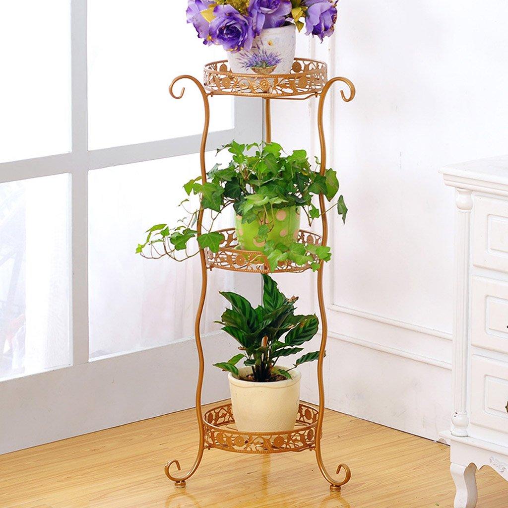 CJH Schmiedeeisen Blumen Boden Multi-Storey Flowerpot Indoor und Outdoor Continental Green Blume-Stil Wohnzimmer Balkon Blume ( Color : Gold 3 layer )