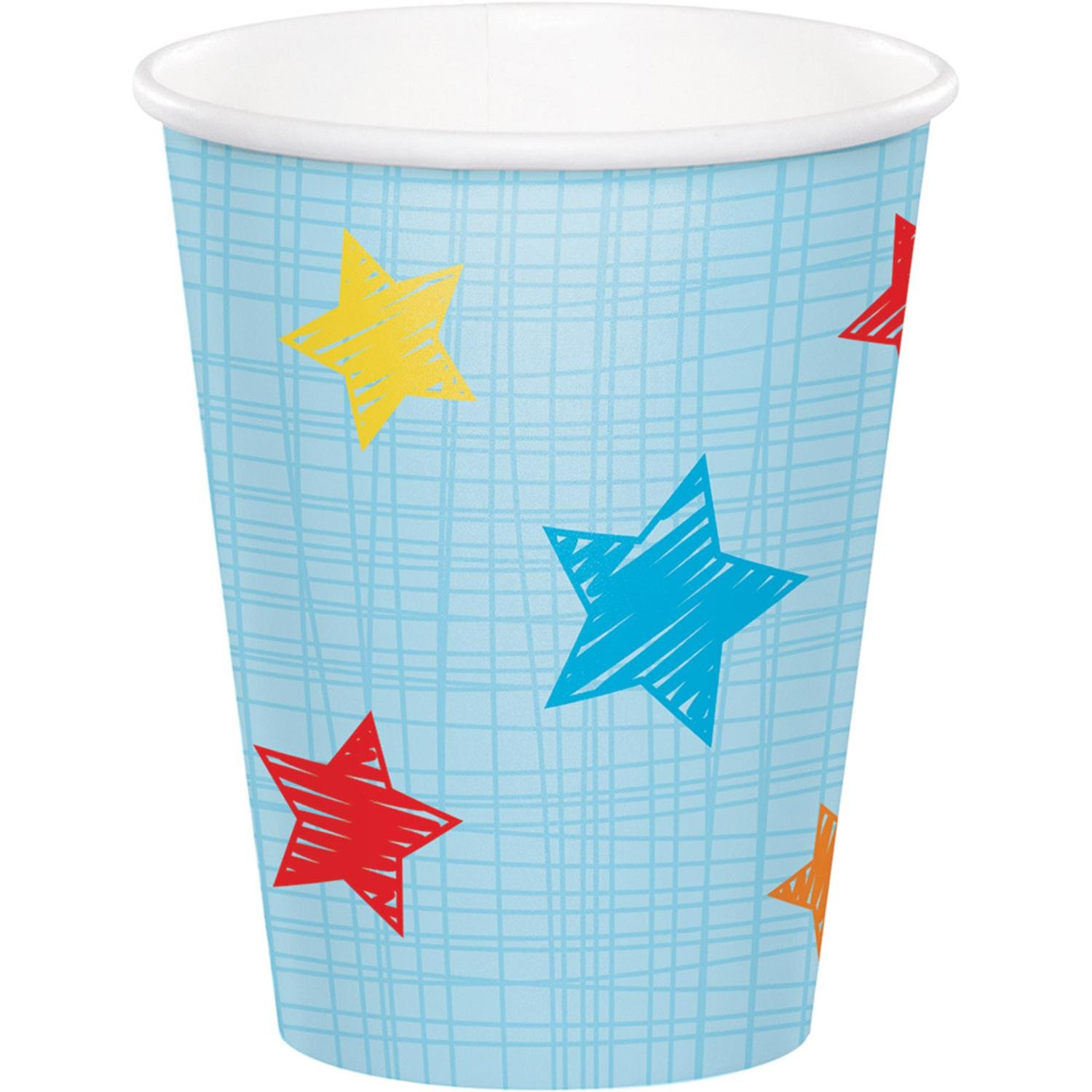 Club Pack of 96 Blue and Red ''One is Fun'' themed Hot cold Cups 5.6''