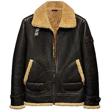 73495c08529 Mens Shearling Jacket B3 Flying Jacket Men s Fur Coat Aviation Leathercraft  Turmeri Pilots Coat Dark Brown
