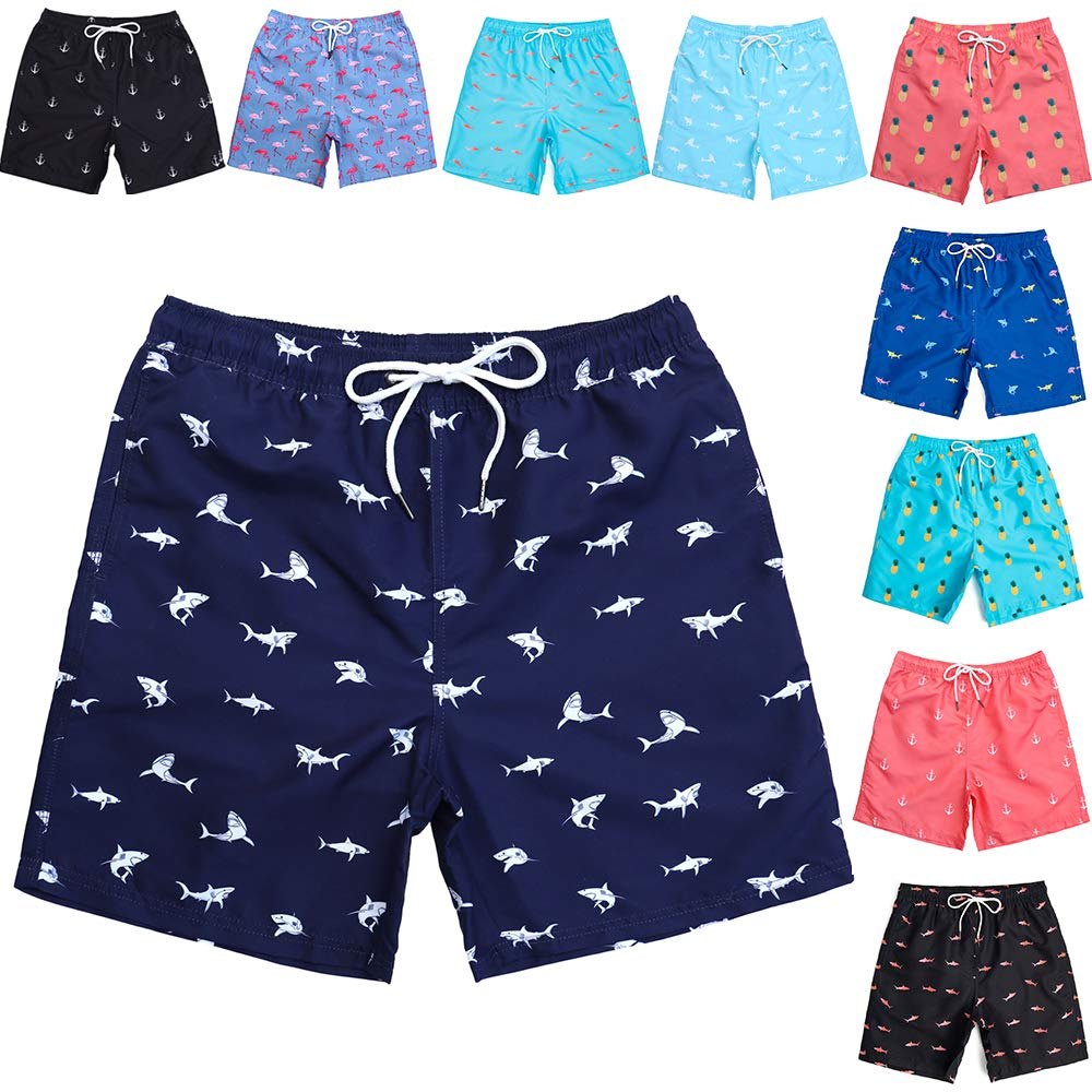 Mens Short Swim Trunks Mens Bathing Suits with Mesh Lining Shark Swim Trunks Men Swimming Trunks for Men by WavingSpark