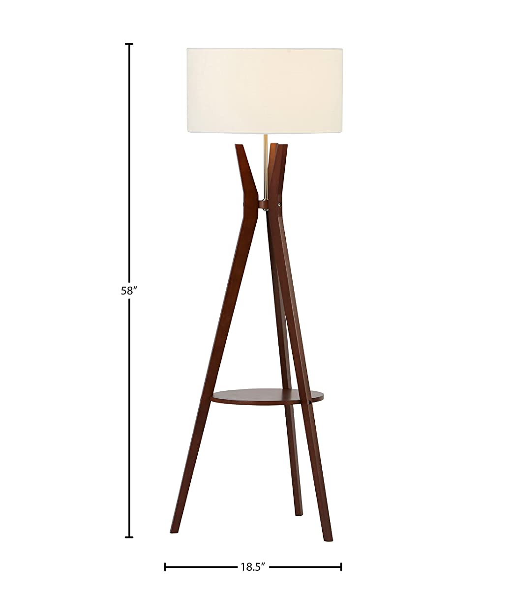 "Rivet Zoey Mid-Century Tripod Storage Floor Lamp 58""H, With Bulb, Walnut"