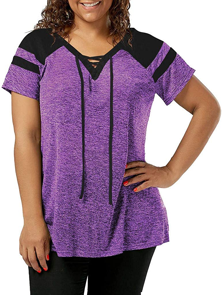 Aniywn Women Patchwork Short Sleeve Pullover Tops Plus Size Lace Up Casual Sports Blouse T-Shirt