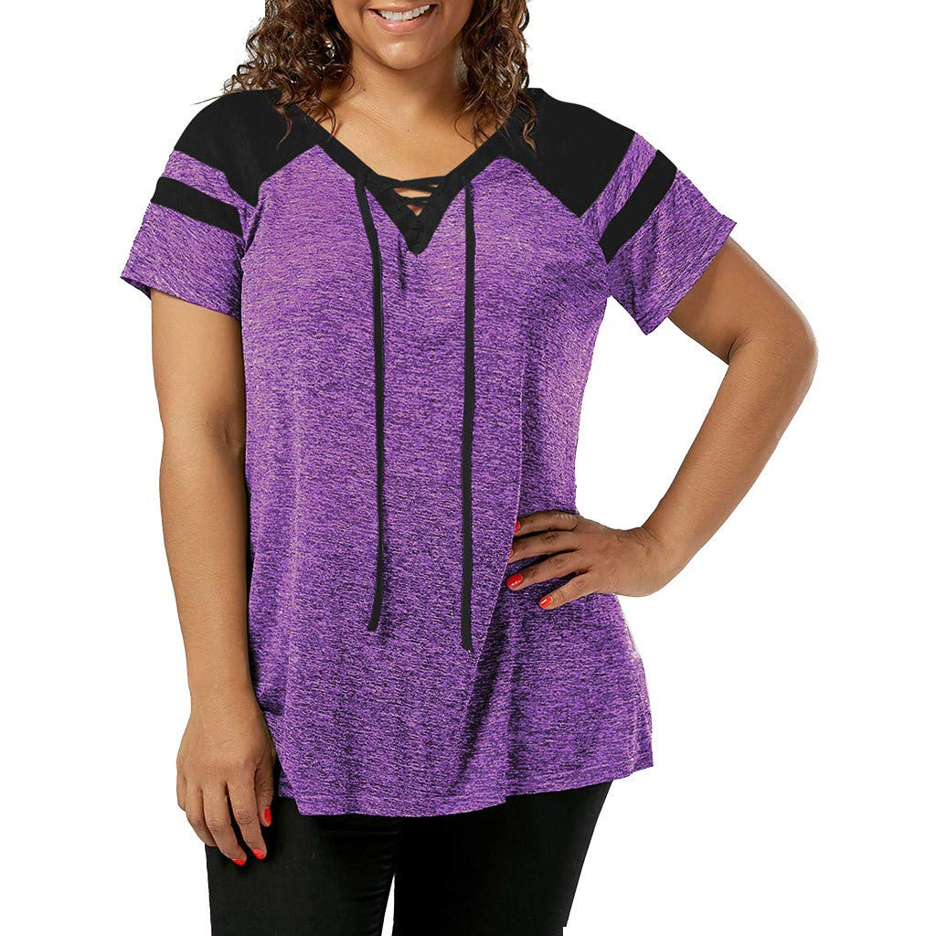 Short Sleeve Tee Blouse for Women,Amiley Women Patchwork Plus Size Short Sleeve Top Shirt Drawstring V Neck Casual Blouse (X-Large, Purple) by Amiley Womens Short Sleeve Tops (Image #1)
