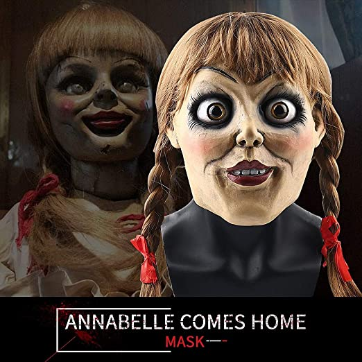 2019 Movie Annabelle Comes Home Cosplay Annabelle Mask con Trenza ...