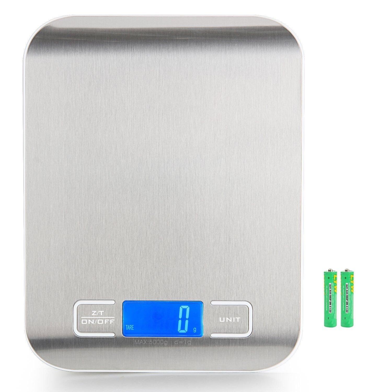 Ozvavzk Báscula Digital para Cocina de Acero Inoxidable, 5000g/11 lbs, Balanza de Alimentos Multifuncional, Color Plata (Baterías Incluidas): Amazon.es: ...