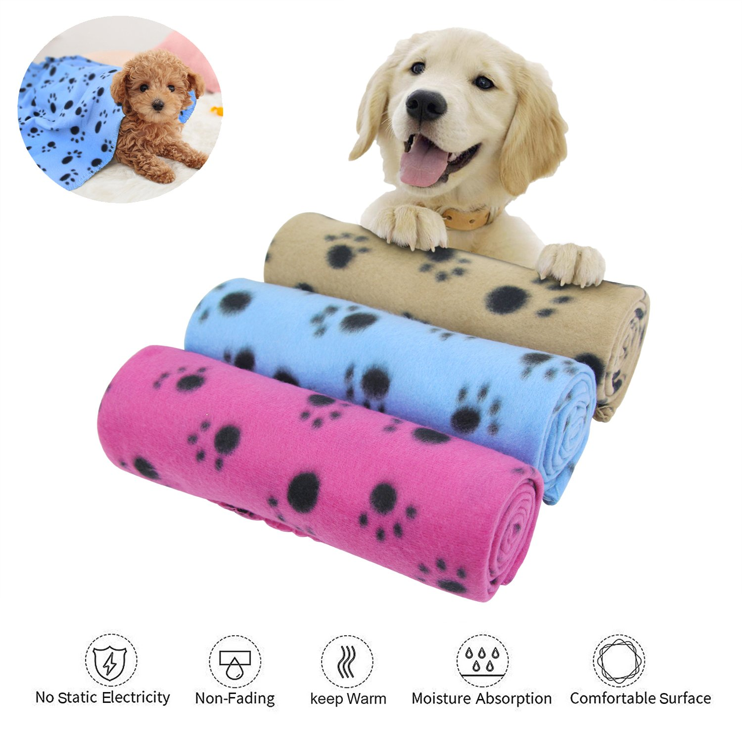 KYC 3 pack 40 x 28 '' Puppy Blanket Cushion Dog Cat Fleece Blankets Pet Sleep Mat Pad Bed Cover with Paw Print Kitten Soft Warm Blanket for Animals (Mixed A) by KYC (Image #1)