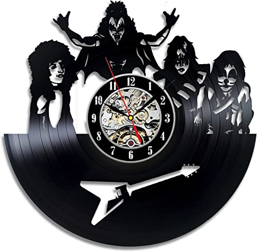 KISS Art Vinyl Wall Clock Gift Room Modern Home Record Vintage Decoration