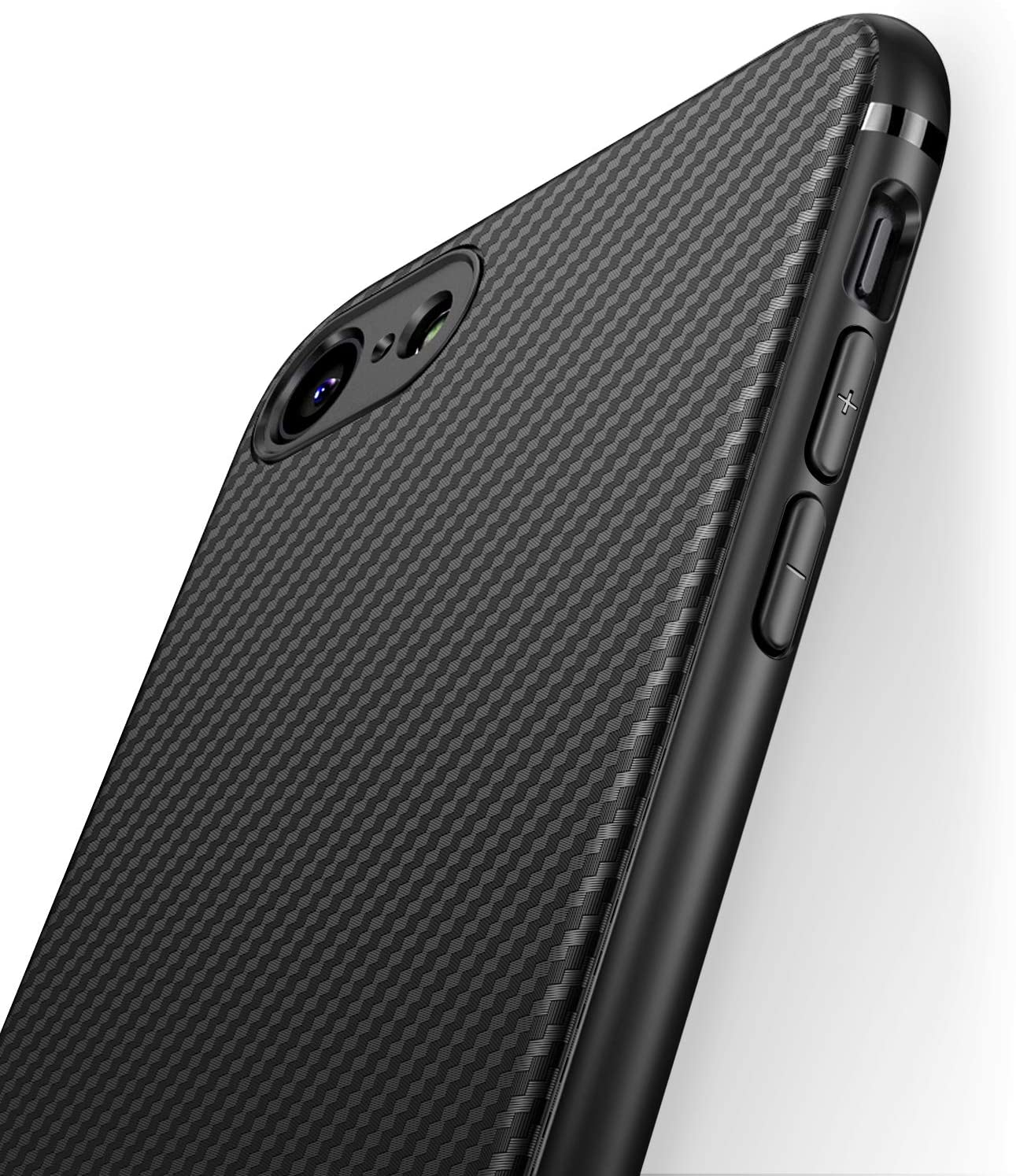 J Jecent iPhone 7 Case iPhone 8 Case iPhone SE 2nd Generation Case 2020 [Carbon Fiber Texture Design] Durable Light Shockproof Cover Slim Fit Soft TPU Silicone Gel Bumper Case 4.7 inch - Black