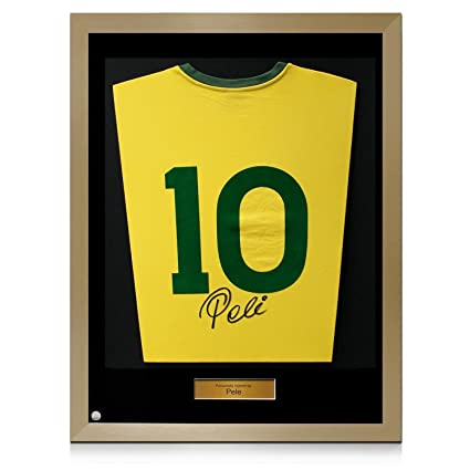 92324735684 Gold Framed signed Pele Number 10 Brazil Soccer Jersey at Amazon s Sports  Collectibles Store