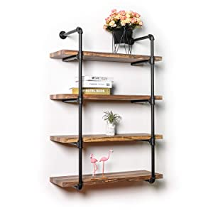 IRONCK Wall Shelf, 4-Tier Pipe Shelf Wood and Metal Frame, Vintage Industrial Shelving for Kitchen, Bedroom, Living Room,Home Decor Rustic Wall Decor