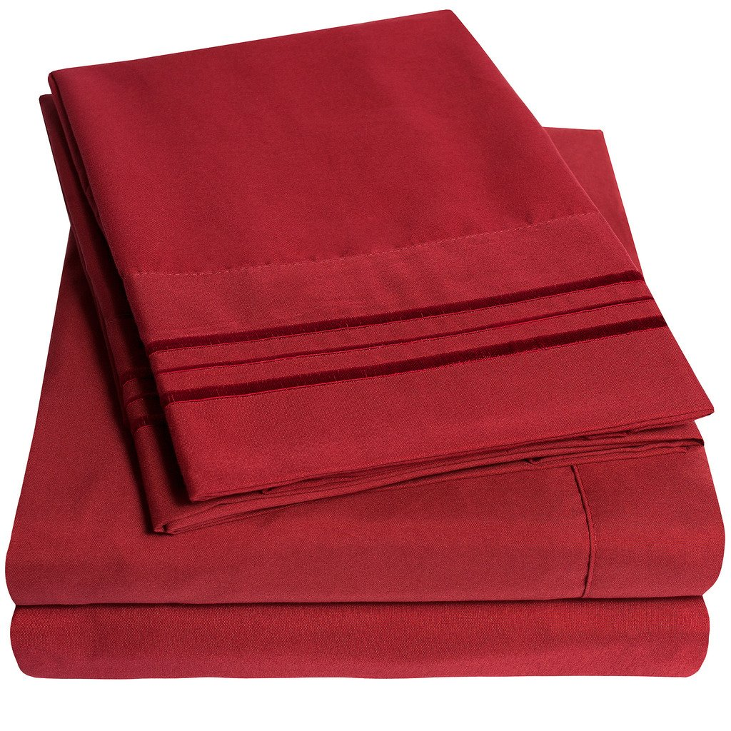 PREMIUM PEACH SKIN SOFT LUXURY 4 PIECE BED SHEET SET Red