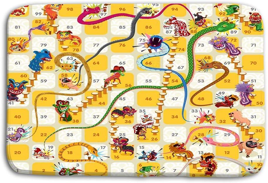 Stugfhj Felpudo Interior Exterior Serpiente Escalera Juego de Mesa Chino Año Nuevo Vector Ilustración Estera: Amazon.es: Jardín