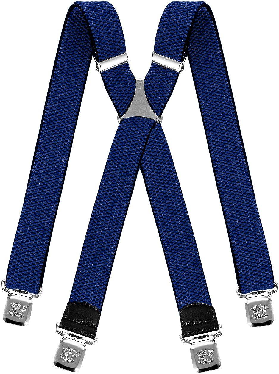Decalen Hosenträger für Herren breit extra starken 4 cm mit 4er Clips X-Form lange für Männer und Damen Hose alle Farben Model Z-07