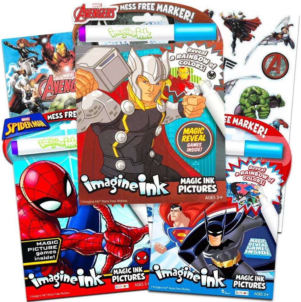 Imagine Ink Bundle of 3 Superhero Magic Pictures Activity Books Set - Justice League Batman, Spiderman and Avengers No Mess Books with Stickers Pack (Mess Free Coloring Books for Toddlers Kids)