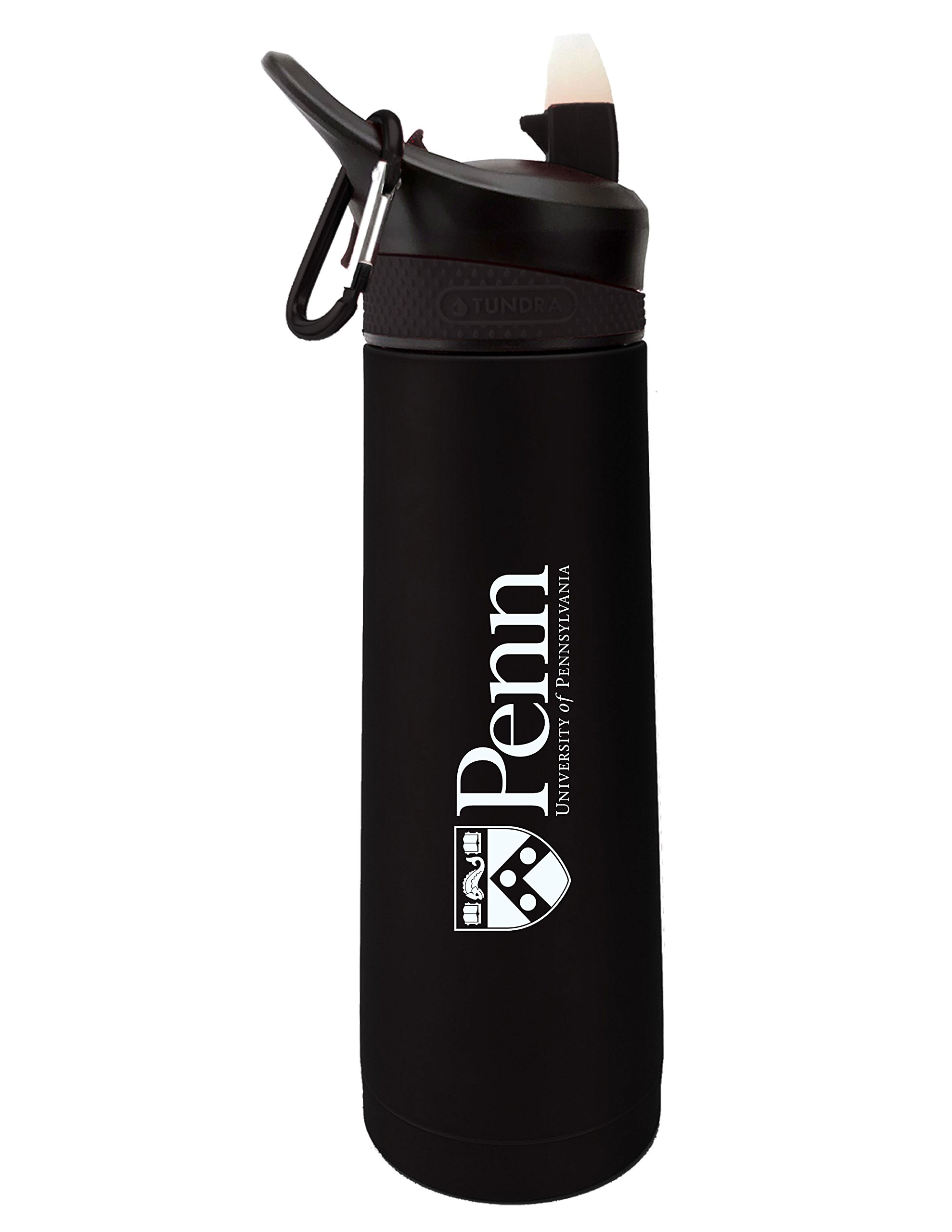 Fanatic Group University of Pennsylvania Dual Walled Stainless Steel Sports Bottle, Design 1 - Black