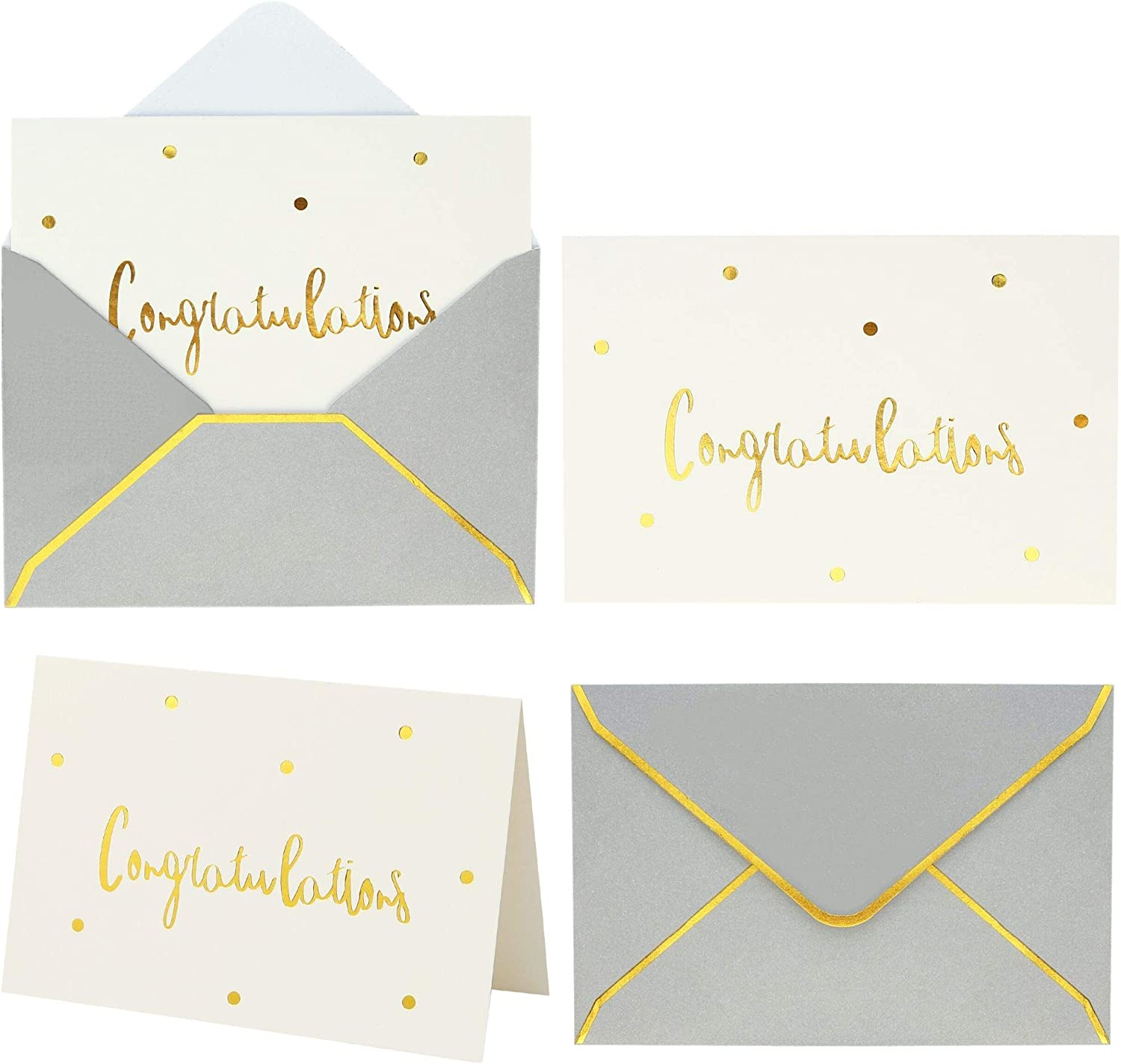 Gold and White Congratulations Cards with Envelopes | 36 PK All Occasion Greeting Cards 4x6 Inches | Graduation Cards Pack New Home Card Graduation Card Pack Engagement Card Congrats Card