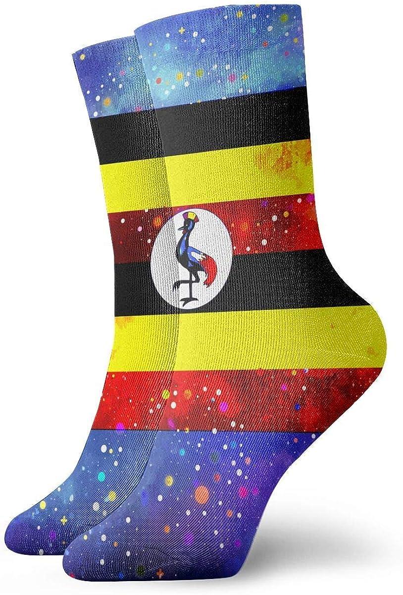 Uganda Flag Starry Flag Crew Socks Casual Funny For Sports Boot Hiking Running Etc.