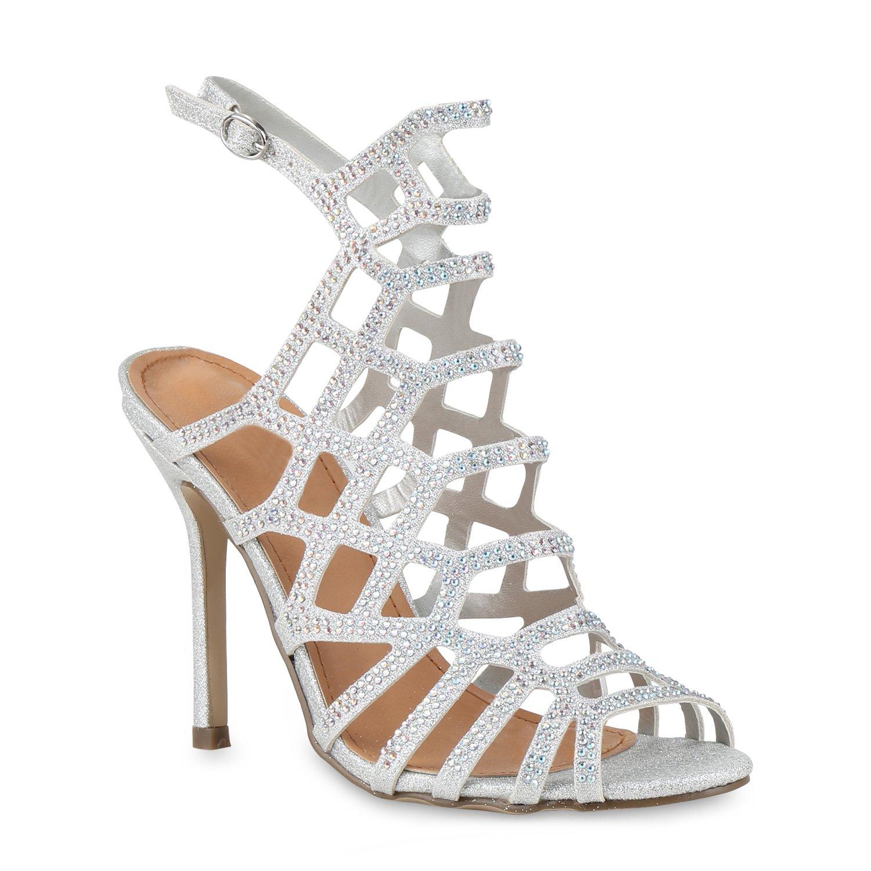 Stiefelparadies Damen Sandaletten High Heels mit Pfennigabsatz Strass Nieten Flandell Silber Silber